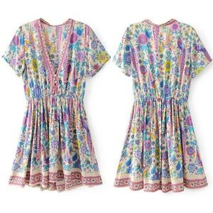 R.Vivimos Short Sleeve Printed V-Neck Tunic Dress